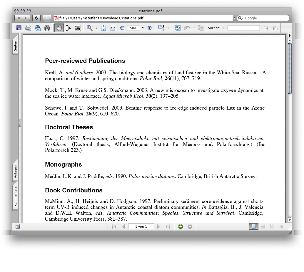 screenshot 2: PDF output of formatted citation list
