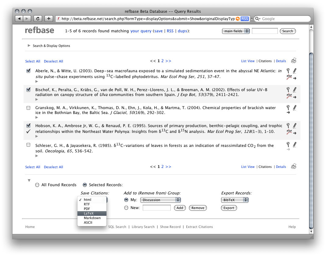 screenshot 1: output formatted citation lists