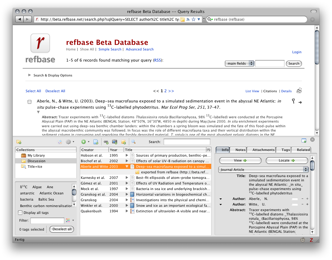 screenshot 2: Zotero compatibility via unAPI & COinS