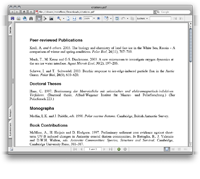 screenshot: formatted citation lists
